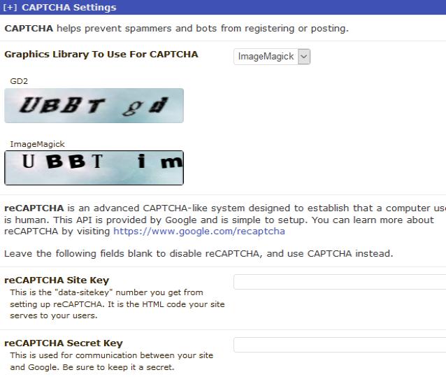 reCAPTCHA UBB.threads Settings
